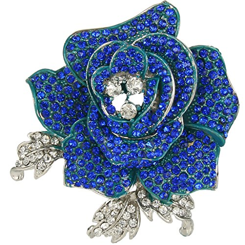 EVER FAITH Women's Austrian Crystal Blooming Beautiful Rose Flower Brooch Sapphire-Color Silver-Tone (Sapphire Flower Brooch Crystals)