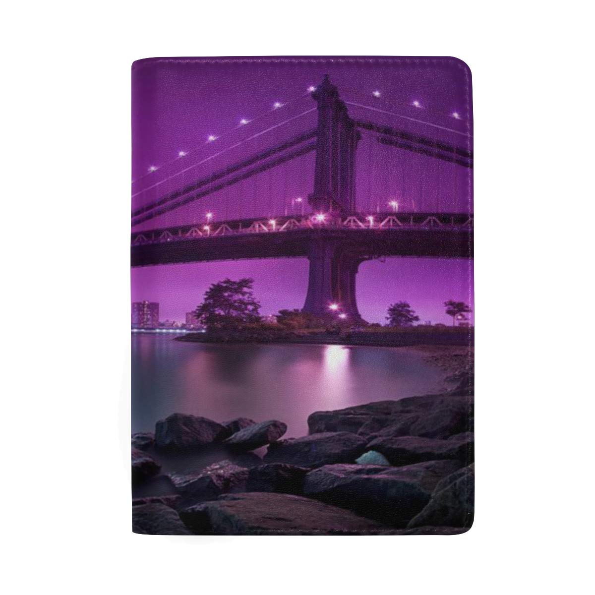 Night Awesome Bridge Leather Passport Holder Cover Case Protector for Men Women Travel with Slots
