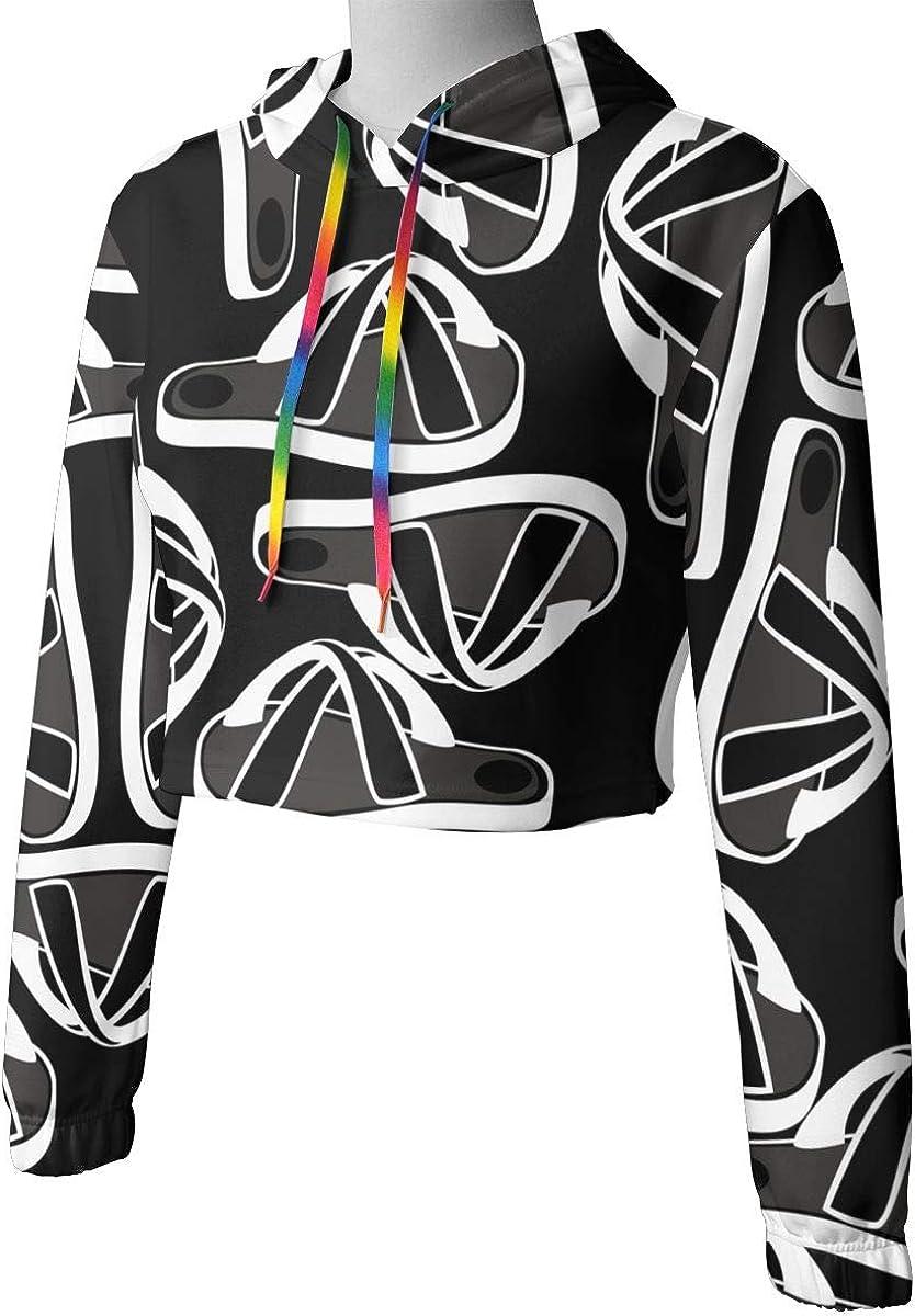 Womens Beach Slippers Crop Tops Pullover Hoodie Kawaii Long Sleeve Sports Tops