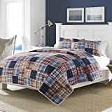 quilt sqaure - 1 Piece Blue Patchwork Full Queen Quilt, Classic Red Gray Country Sqaure Stripped Pattern, Nautical Vintage Rugby Stripes Cottage Grey Reversible Bedding, Cotton