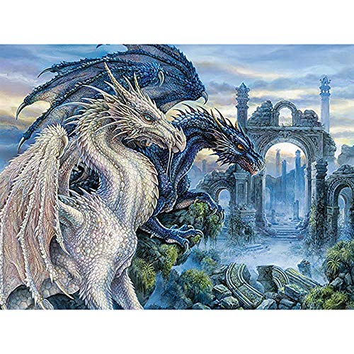 Dragon Painting - DIY 5D Diamond Painting by Number Kits, Crystal Rhinestone Embroidery Paint with Diamonds, Full Drill Canvas Art Picture for Home Wall Decor, Dragon, 13.58x16.92inch
