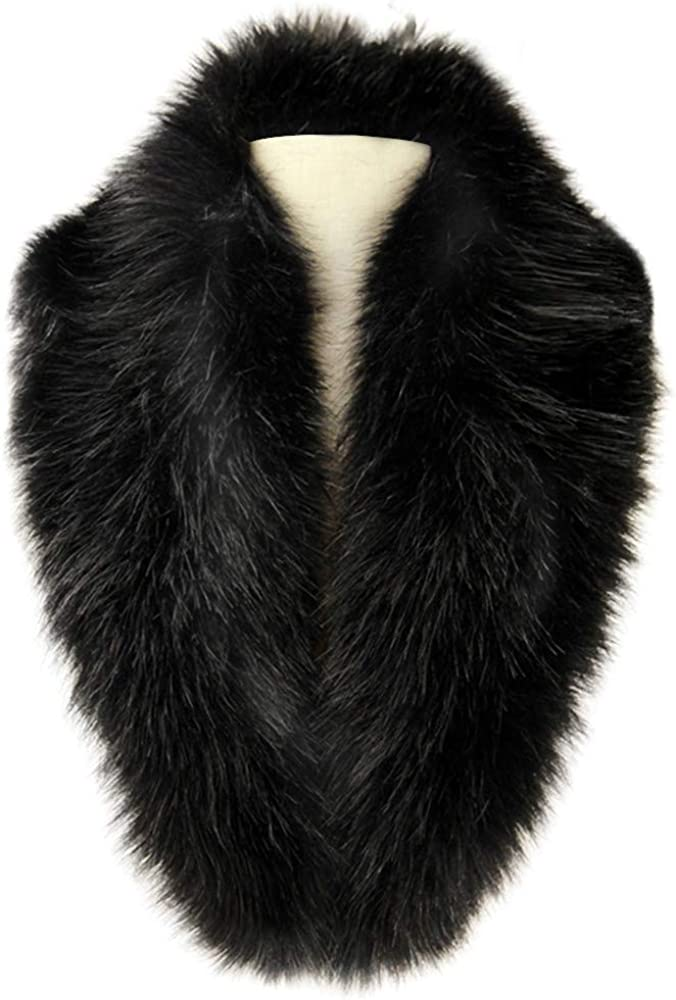 10b4fc932 Dikoaina Extra Large Women's Faux Fur Collar for Winter Coat, Black, 100cm