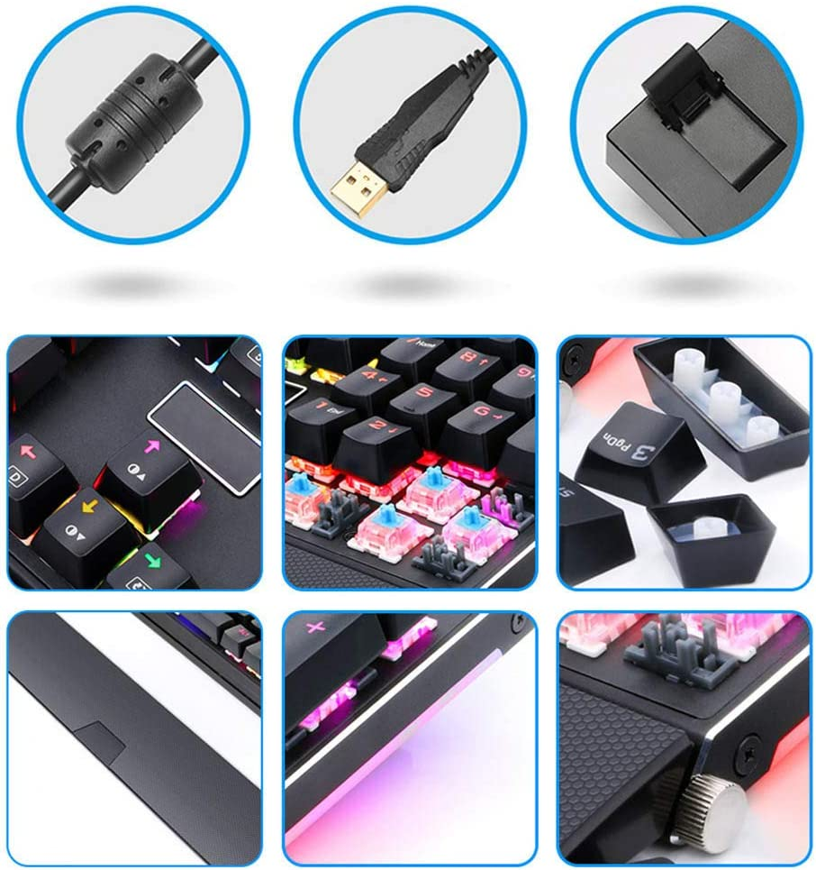 RGB Backlight Mode Aircraft-Grade Aluminum Structure 104-Key Gaming Keyboard Suitable for Computer Notebook WANGCHAO RGB Mechanical Gaming Keyboard