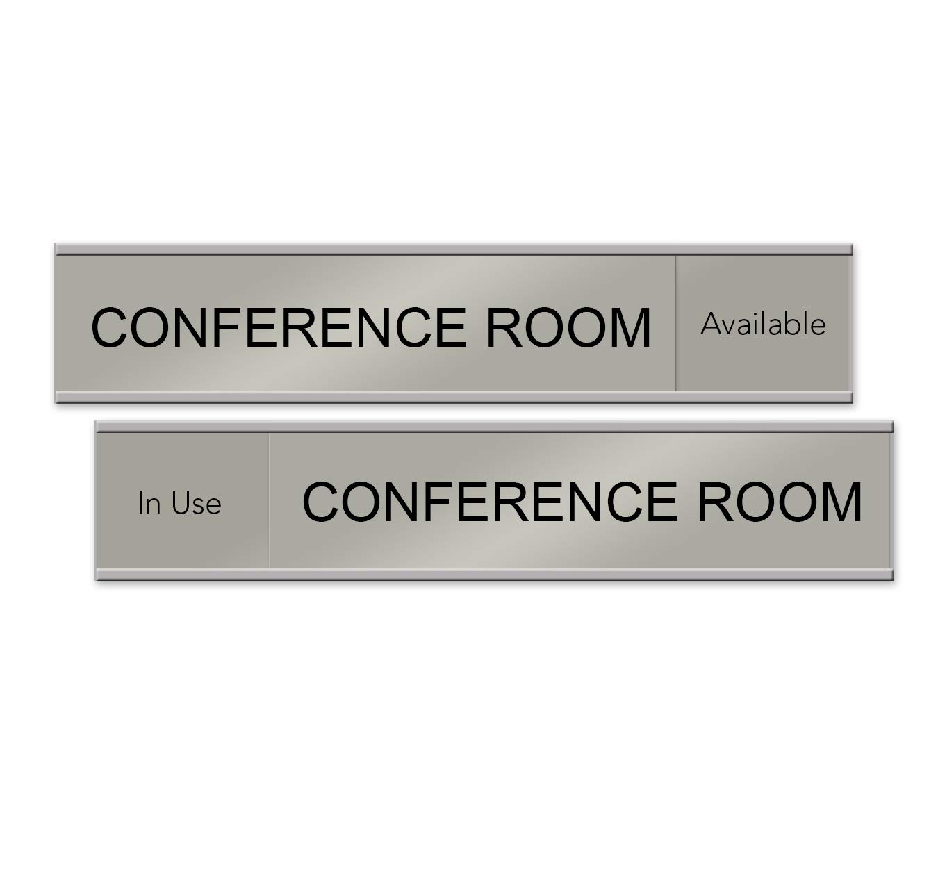 Quality Satin-Aluminum Conference Room Slider Signs - 10 x 2 - Made in The USA (Silver) by NapTags