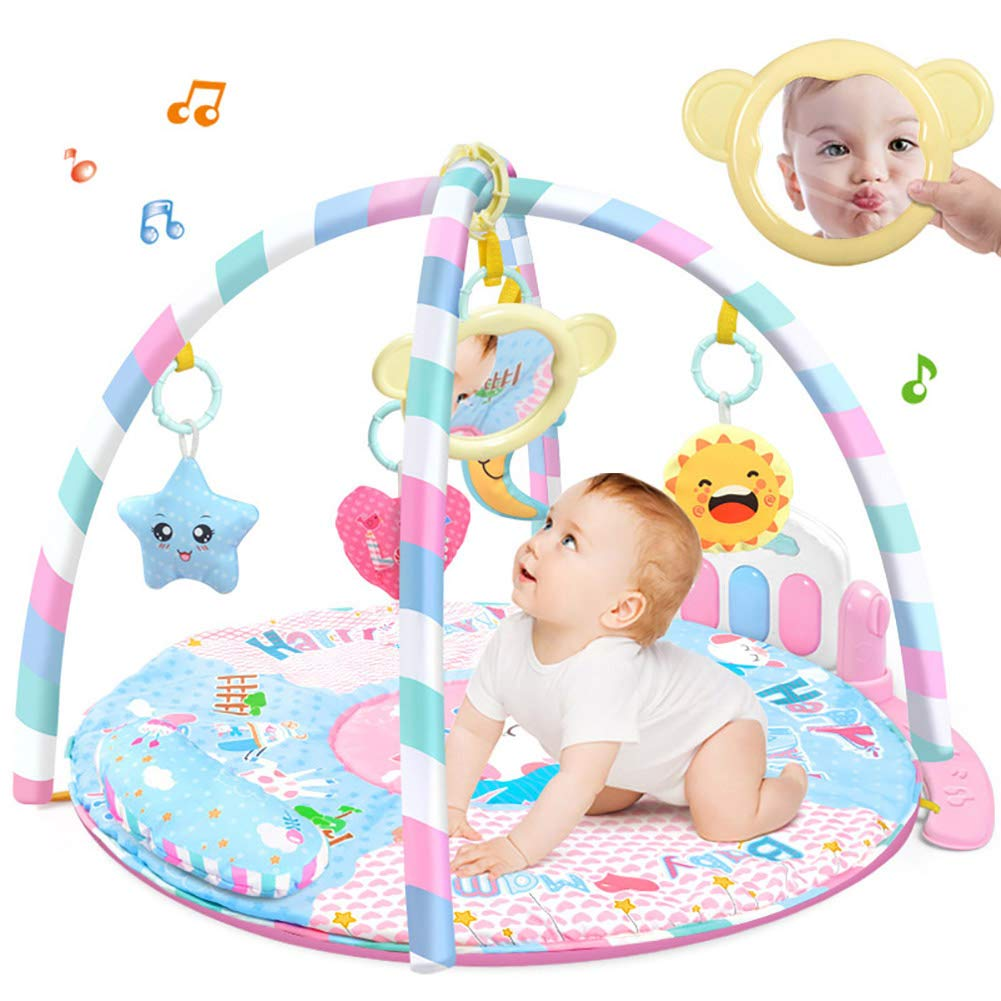 LamicAR Baby Cartoon Cradle Education Toy Fitness Frame Piano Music Blanket Crawling Mat Light Pink by LamicAR (Image #2)