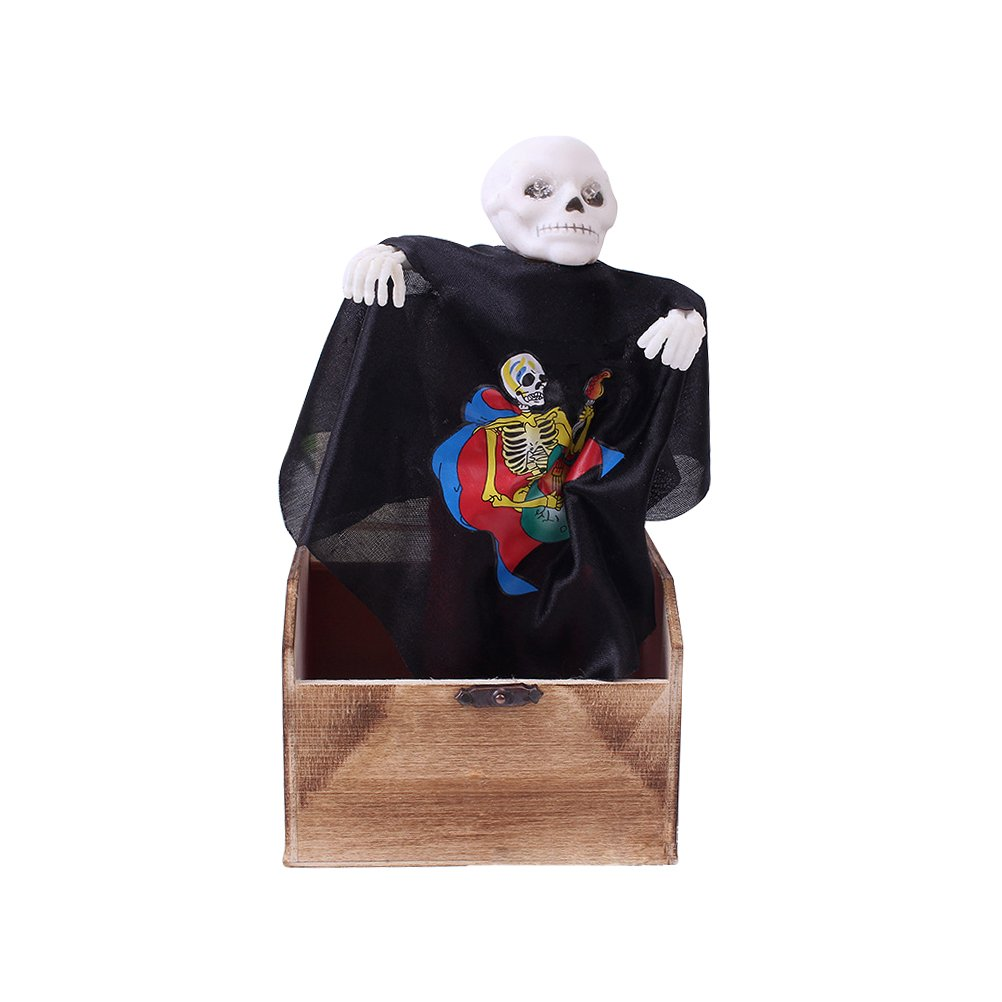 BESTOYARD Halloween Prank Toy Wooden Scary Box Funy Horror Trick Electric Voice Activated Joke Toy (Skull Head)