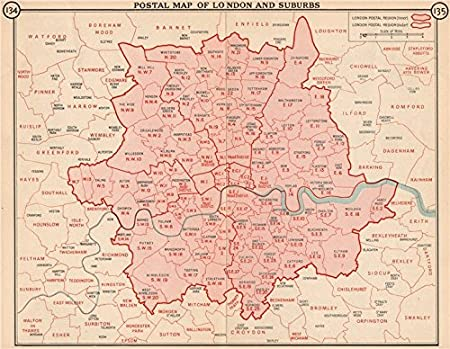 London And Suburbs Map.Postal Map Of London And Suburbs Postcodes Postal Regions