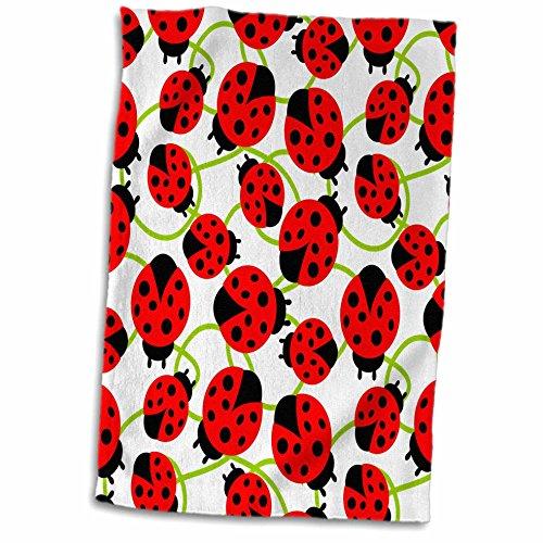 3D Rose Red Ladybugs- Whimsical Art- Spring TWL_48649_1 Towel, 15