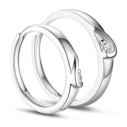 SWEETIEE Pendientes de 925 de plata anillos de pareja para los amantes, mitad corazón con
