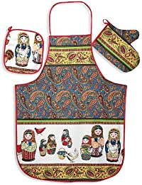 Bargain 'Matryoshka' (Nesting Doll) 3-piece Kitchen Textile Set opportunity