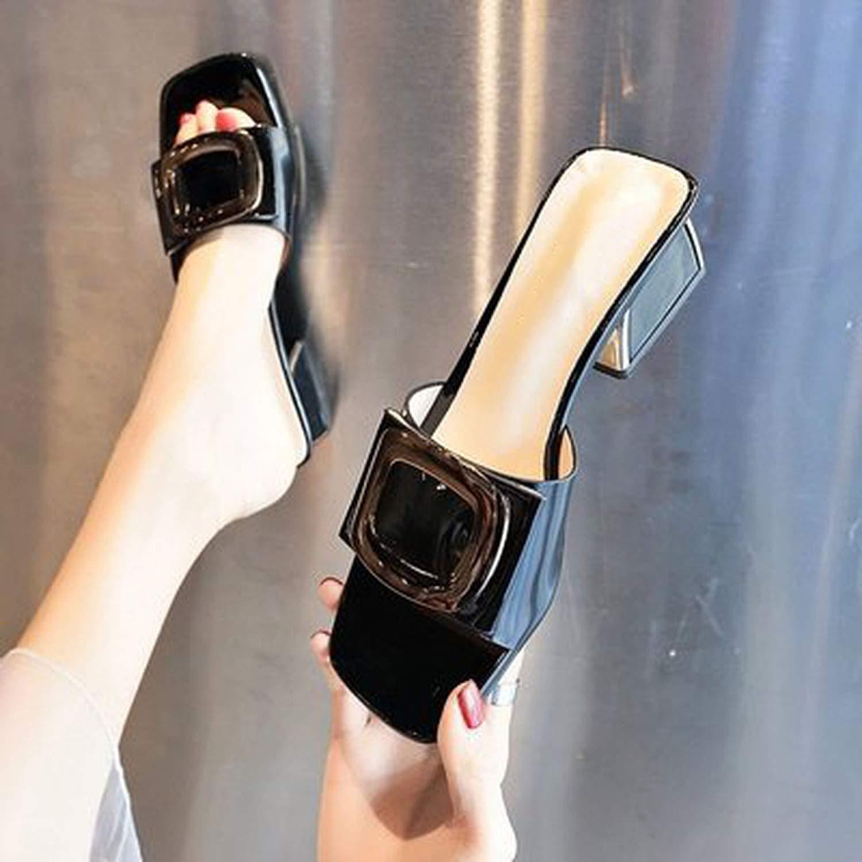 Jiojio Temperament Sandals Thick with a Word Drag,4,6