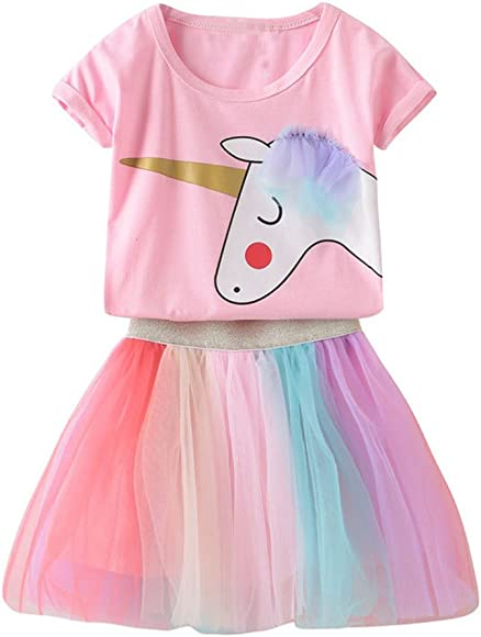 0a1b31a86 Toddler Kids Baby Girl Unicorn Top T-Shirt Lace Tutu Skirt Outfits Set  Clothes Summer