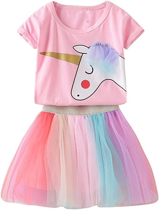 204f230d2e0f Toddler Kids Baby Girl Unicorn Top T-Shirt Lace Tutu Skirt Outfits Set  Clothes Summer