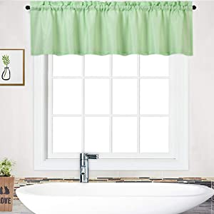 "NANAN Waffle-Weave Window Treatment Valances Waterproof Bathroom Curtain Panels - 60"" x 15"", Seafoam Green, One Panel"