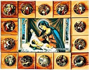 G.K Holy Land Item Last Supper Wooden Frame, Brown