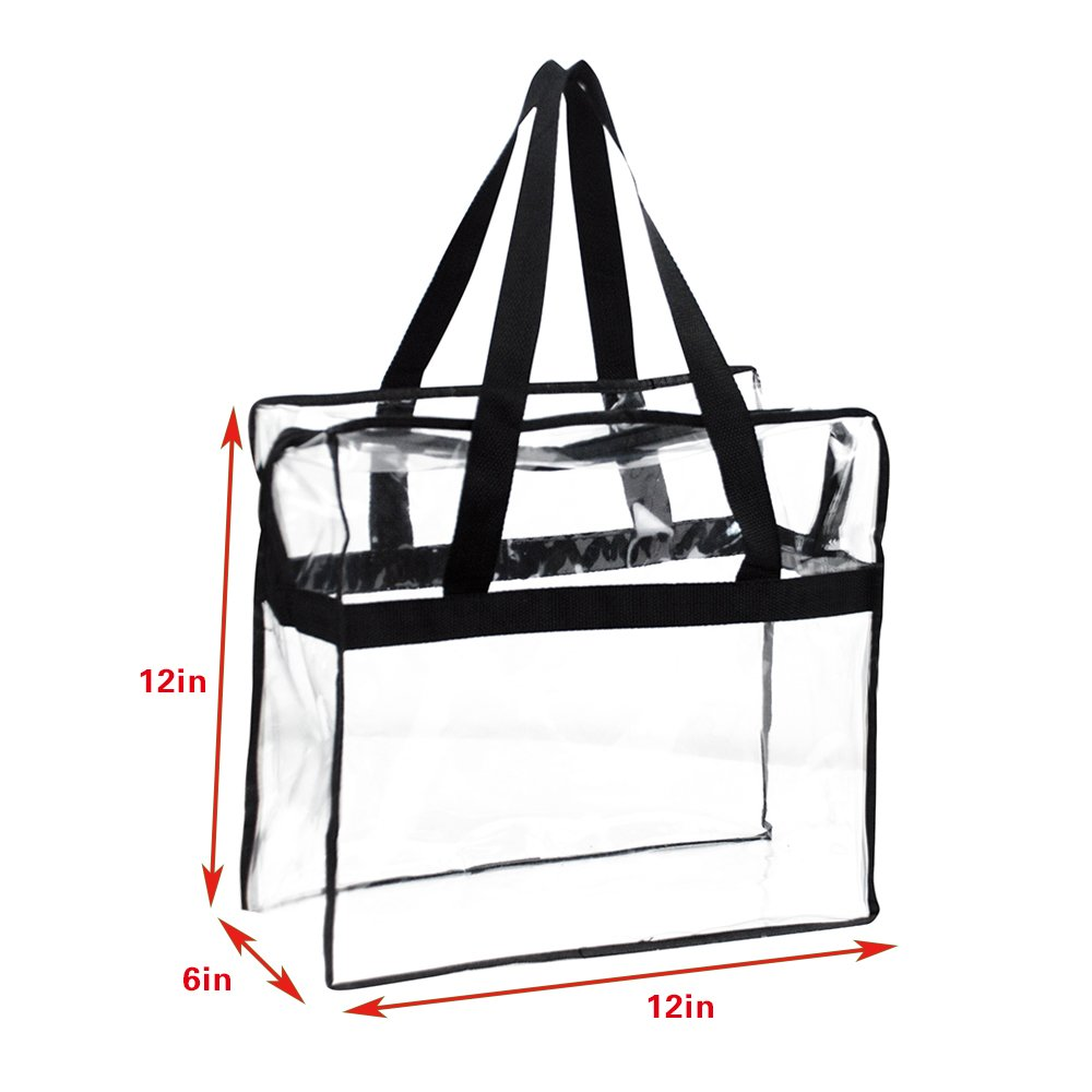 Sturdy PVC Construction Zippered Top Perfect for Work School Sports Games and Concerts Stadium Security Travel /& Gym Clear Bag Magicbags 12X12X6 Stadium Approved Clear Tote Bag