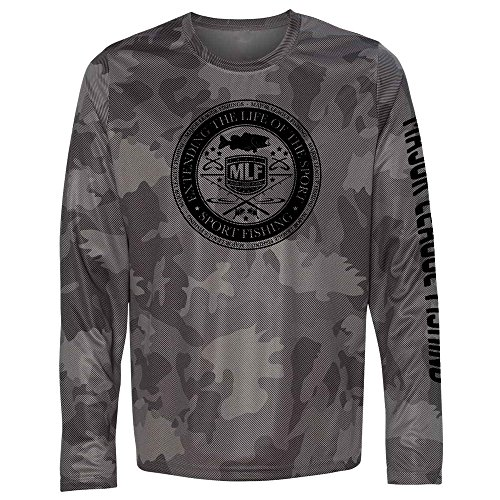 Major League Fishing Bait Shop Badge Quick Dry Camo Long Sleeve Shirt for Men