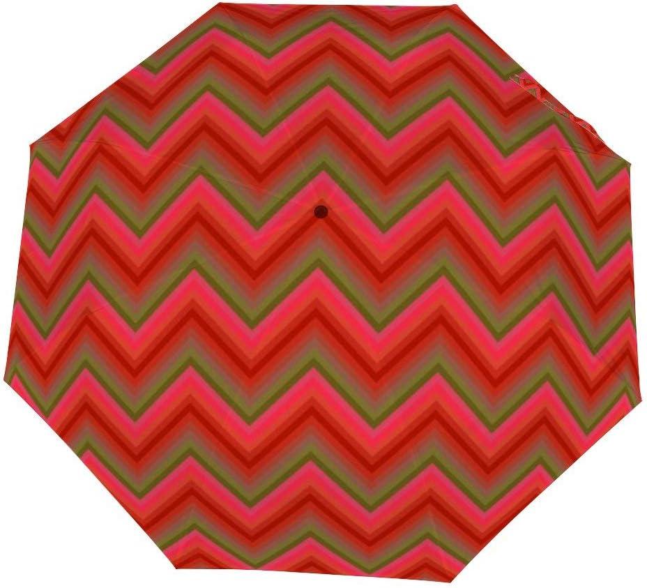 Cheyan Folding Umbrella Windproof Rainproof Portable Lightweight Travel Compact Custom Manual Retro Red Zigzag