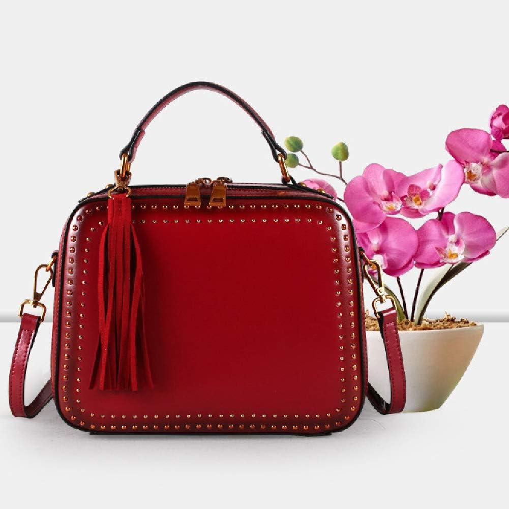 Borsetta da donna in morbida pelle, grande capacità, stile retrò, vintage, con maniglia superiore, stile casual Red