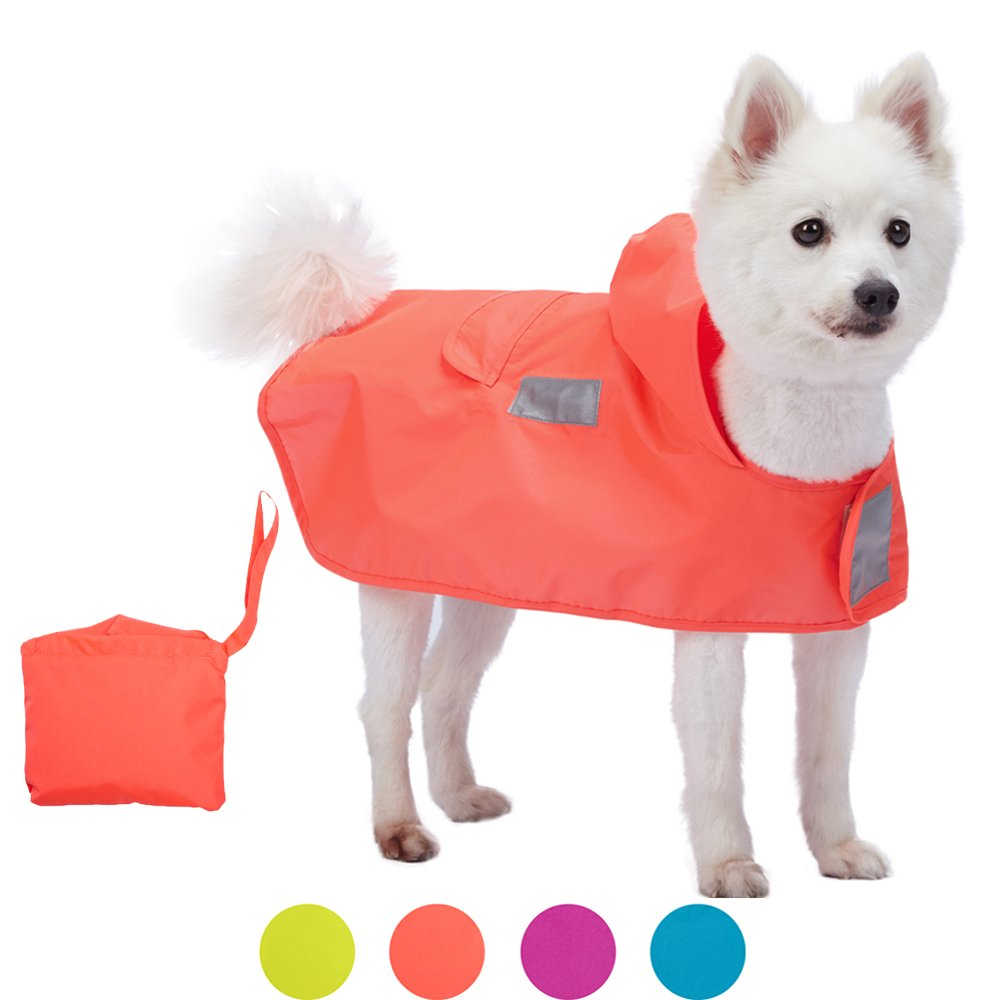 Blueberry Pet 4 Colors 12'' Lightweight Packable Outdoor Dog Hooded Raincoat Jacket 3M Reflective Safety Tapes in Bright Orange, Pack of 1 Foldable Poncho Coat Dogs