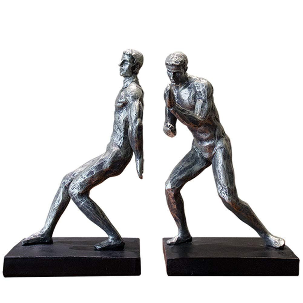 MAGO Desktop Decoration Silver Effect Resin Pushing Men Statue ,Figurines Bookends Ornamental Sculpture Bookends for Shelves Library School Office