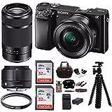 Sony Alpha a6000 Mirrorless Camera 3 Lens Kit (Sony SELP1650 16-50mm, Sony 55-210mm , Sigma 19mm f/2.8 DN ) + 64GB Bundle