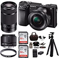 Sony Alpha a6000 Mirrorless Camera 3 Lens Kit (Sony SELP1650 16-50mm, Sony 55-210mm , Sigma 19mm f/2.8 DN ) + 64GB Bundle