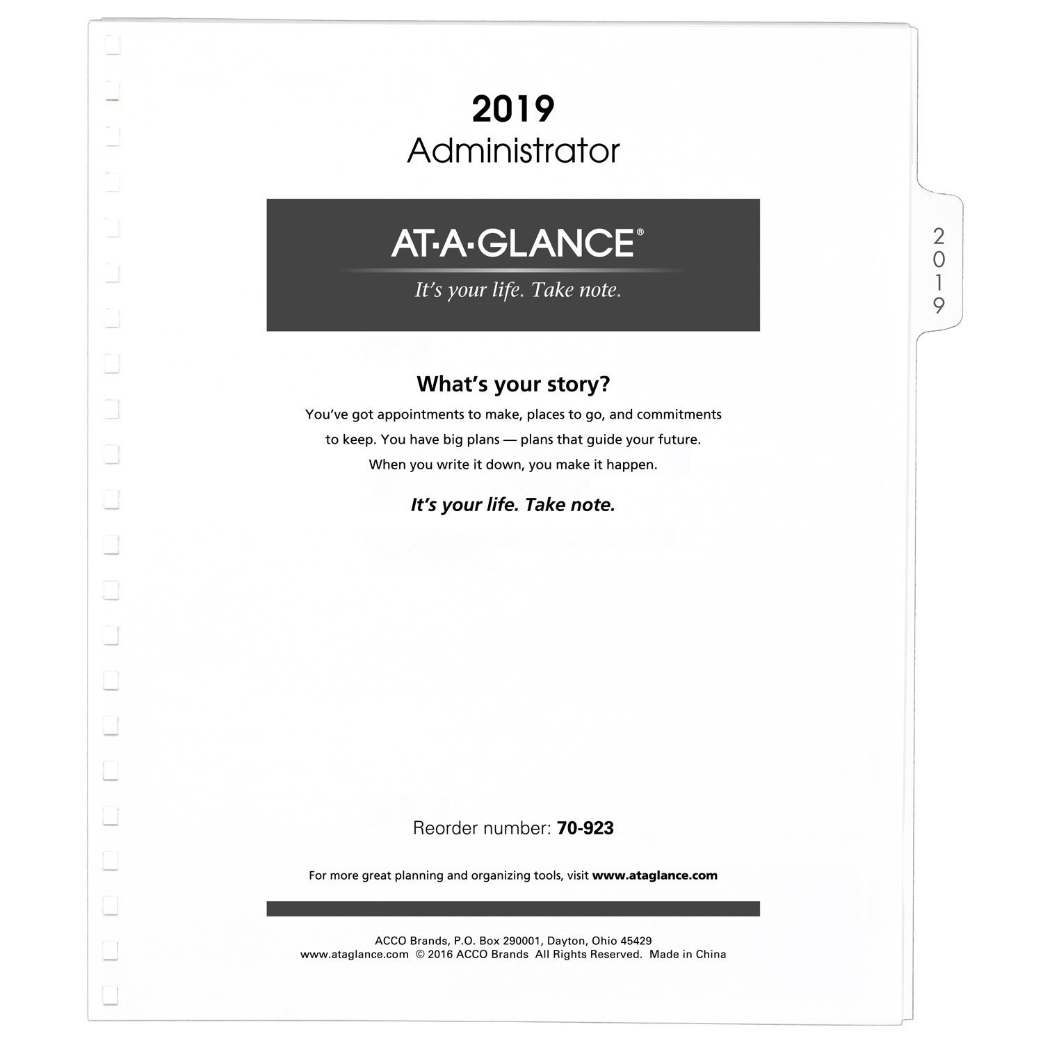 AT-A-GLANCE Monthly Planner Refill 2019, for 70-236 or 70-296, 9 x 11