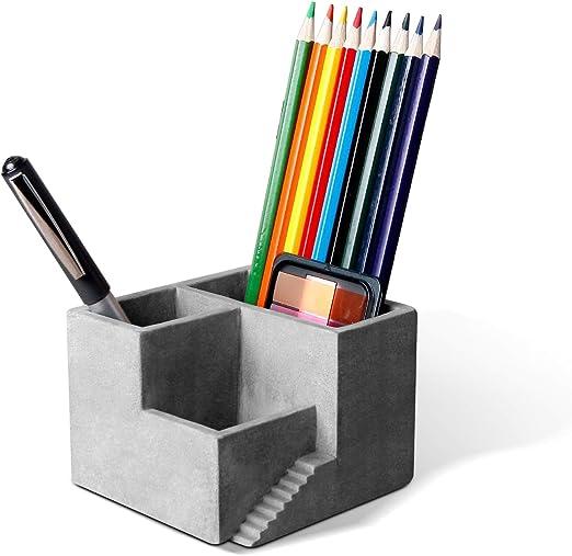 ComSaf Portalápices de Cemento Gris, Porta Lápiz Creativo Organizadores Pequeña Bote para Bolígrafo Plumas Lapices Crayón Estudio y Oficina Decoración de Escritorio: Amazon.es: Hogar