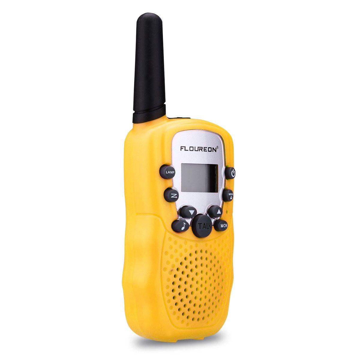 FLOUREON Walkie Talkies Niños 8 Canales, Radio bidireccional, Alcance hasta 3km, Pantalla LCD(Amarillo,1 Par)