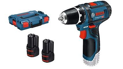 Bosch Professional GSR 12V-15 - Atornillador a batería (2 baterías x 2,0 Ah, 12V, en L-BOXX)