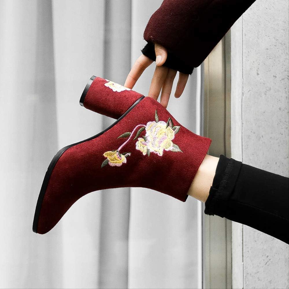 SHZSMHD Stivali Ricamati Stivaletti Nuovi per Donna Autunno-Inverno Primavera per Donna Tacchi Alti Scarpe da Donna retrò Stivali Alti da Donna Autunno Fiore Nero