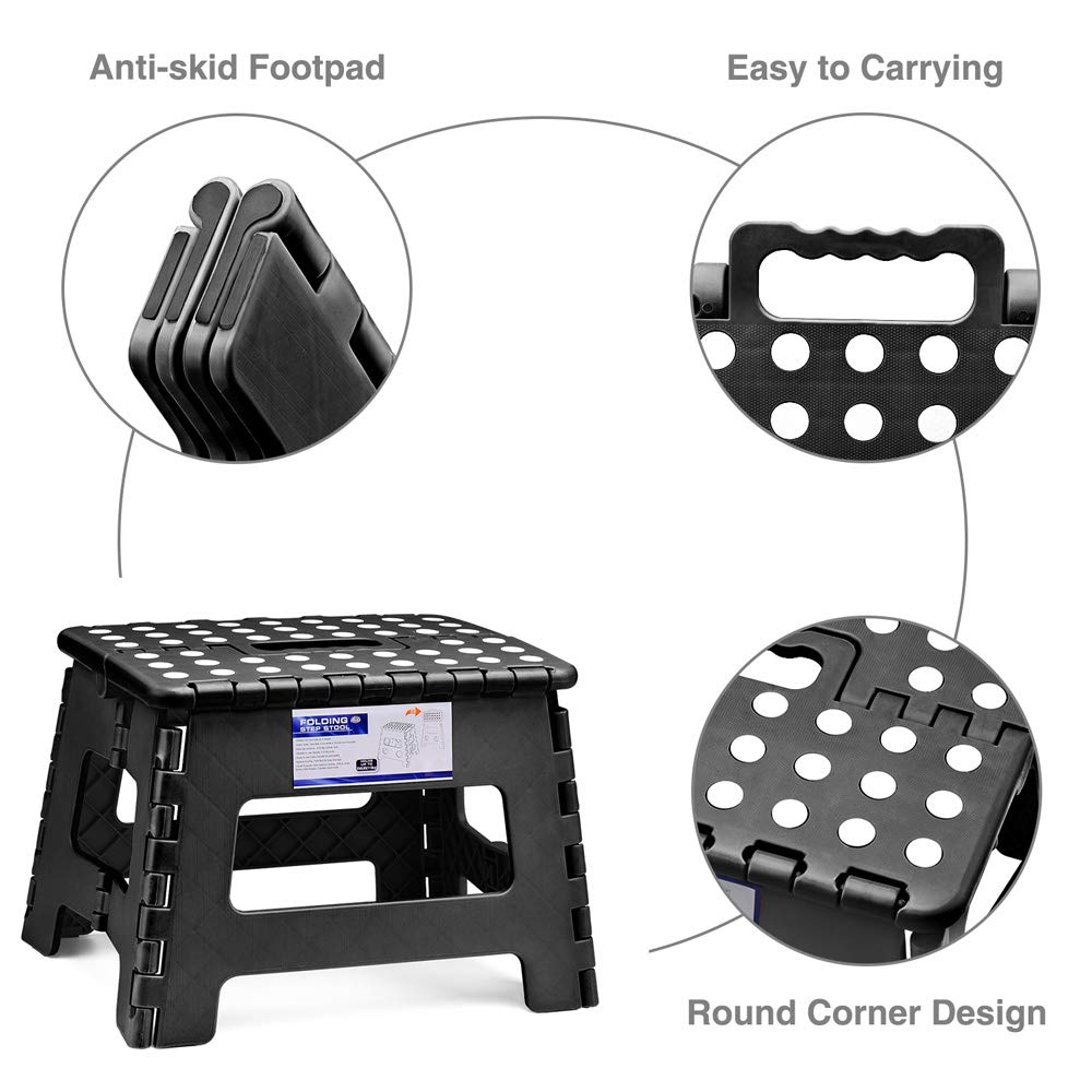 11 Height 2 Pack Black, 2 Pack Acko Folding Step Stool Lightweight Plastic Step Stool Foldable Step Stool for Kids and Adults,Non Slip Folding Stools for Kitchen Bathroom Bedroom