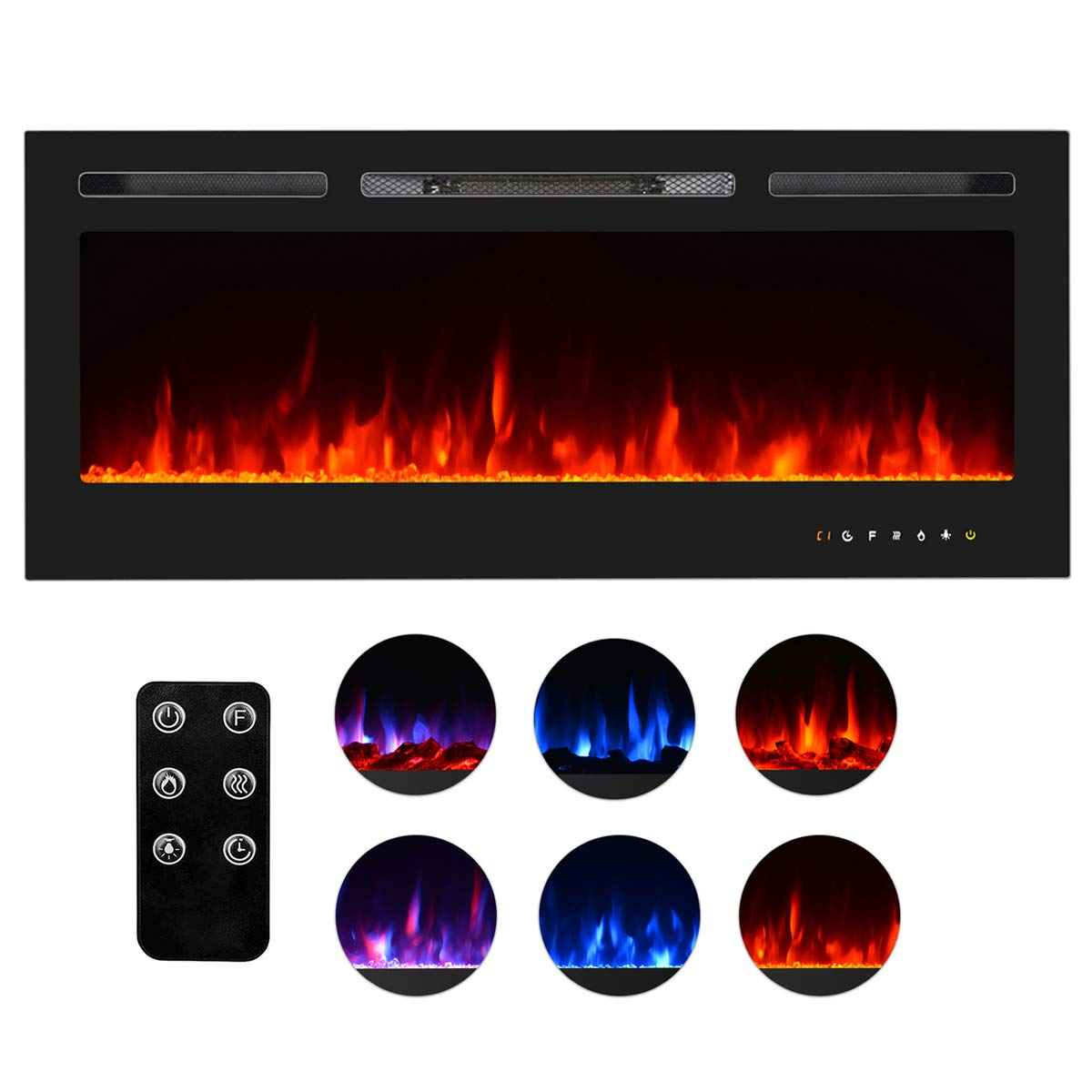 Homedex 50'' Recessed Mounted Electric Fireplace Insert with Touch Screen Control Panel, Remote Control, 750/1500W, Black by Homedex