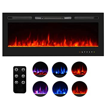 Wondrous Homedex 50 Recessed Mounted Electric Fireplace Insert With Touch Screen Control Panel Remote Control 750 1500W Black Download Free Architecture Designs Terchretrmadebymaigaardcom