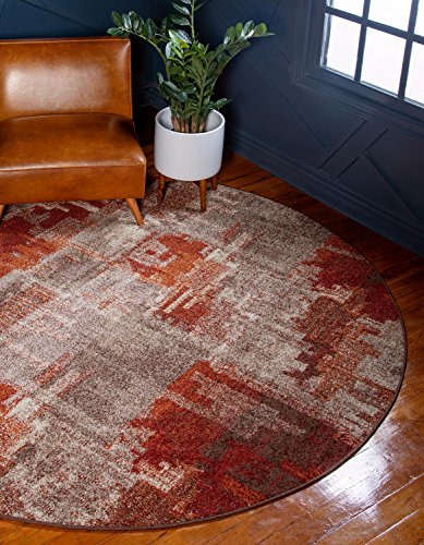 Unique Loom Autumn Collection Rustic Casual Warm Toned Abstract Multi Round Rug (8′ x 8′)
