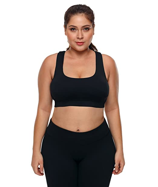 5f2f6f257 Lalagen Womens Plus Size Sports Bras High Impact Workout Gym Activewear Bra  Black L