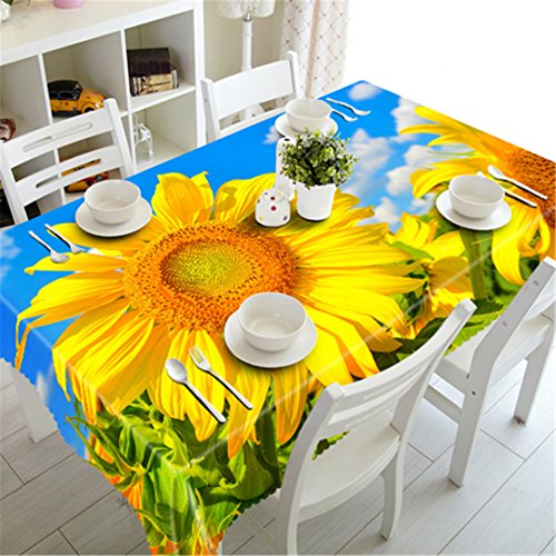 LYsalaka 3D Tablecloth Merry Christmas Sunshine Sunflower Pattern Waterproof Cloth Thicken Rectangular And Round Wedding Table Cloth 84' Round Plastic Tablecloths