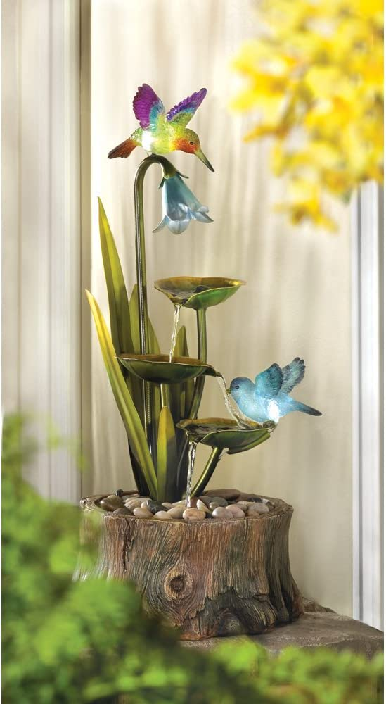 wakatobi Hummingbird Water Fountain Cascading Down The Leaves Home Garden Decor