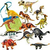 IROCH Dinosaur Action Figure Toys - 12pcs 7 Inch Jumbo STEM Educational Realistic Plastic Dinosaur Playset For 3 Years Up Toddlers and Older Kids+ Easter Eggs (Random Color) (12PCS)