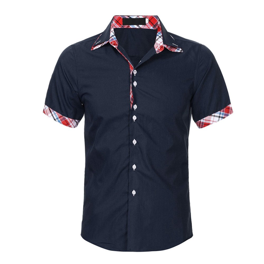 Fxbar,Fashion Short-Sleeve Button-up Shirts Solid Men Tee Shirt Tall(Navy,M)