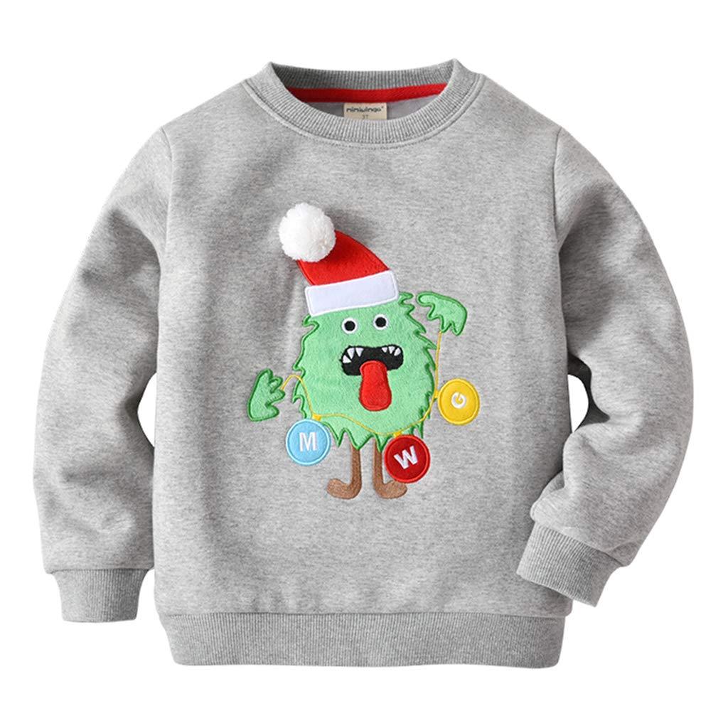 Baby Sweatshirts Christmas Deer Thicken Tops Fleece Pullover Long Sleeve T-shirt For Boys/Girls, 3 Years, Red deer Vine Trading Co. Ltd B161010WY006103V