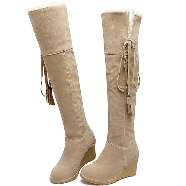 BIGTREE Damen Knie Hohe Stiefel Herbst Winter Casual Schnüren Keilabsatz Bequem Warme Lange Stiefel Von Beige 41 EU uTSeNPfHzb