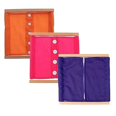 Sharplace 3 Lots Cadre Frame Bois de Vêtement Montessori Jouets Educatifs Réveils pour Enfant Bébé s'Habiller Boutonner / Zipper