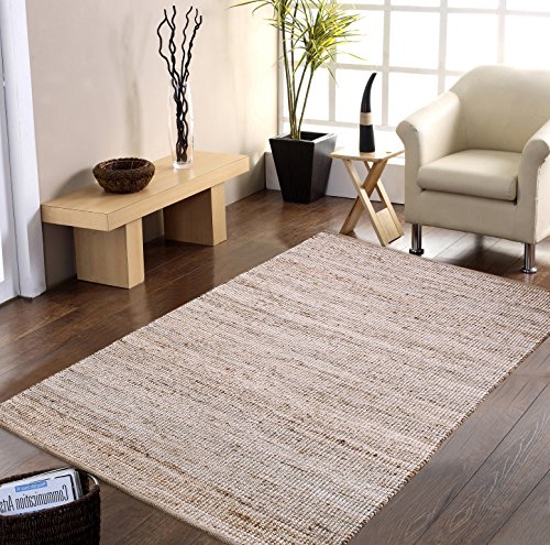 Shines LLC Natural Fiber Collection - (8'x10') 100% Natural Eco - Friendly Jute and Cotton Chenille Pattern Accent Royal Hand Woven Area Rugs (Cape Cod Braided Rugs)