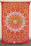 Orange Star Indian Hippie Mandala Psychedelic Tapestry Bedspread Bohemian Boho, Bohemian Wall Hanging, Mandala Twin Size Tapestry, 100% Pure Cotton Wall Hangings By ''Gemsandcraft''