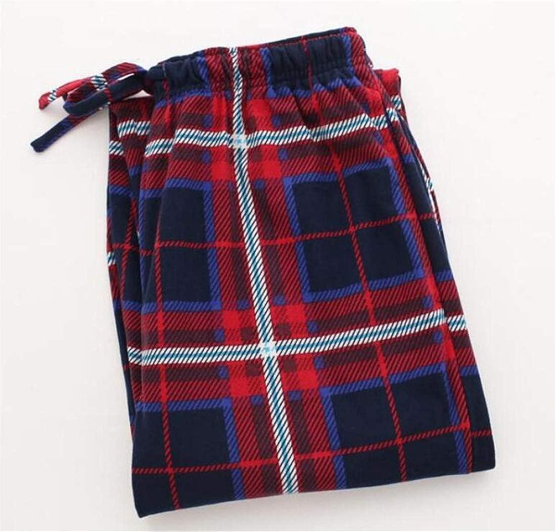 JXG Men Plaid Print Fleece Lounge Wear Comfort Soft Pajama Pant