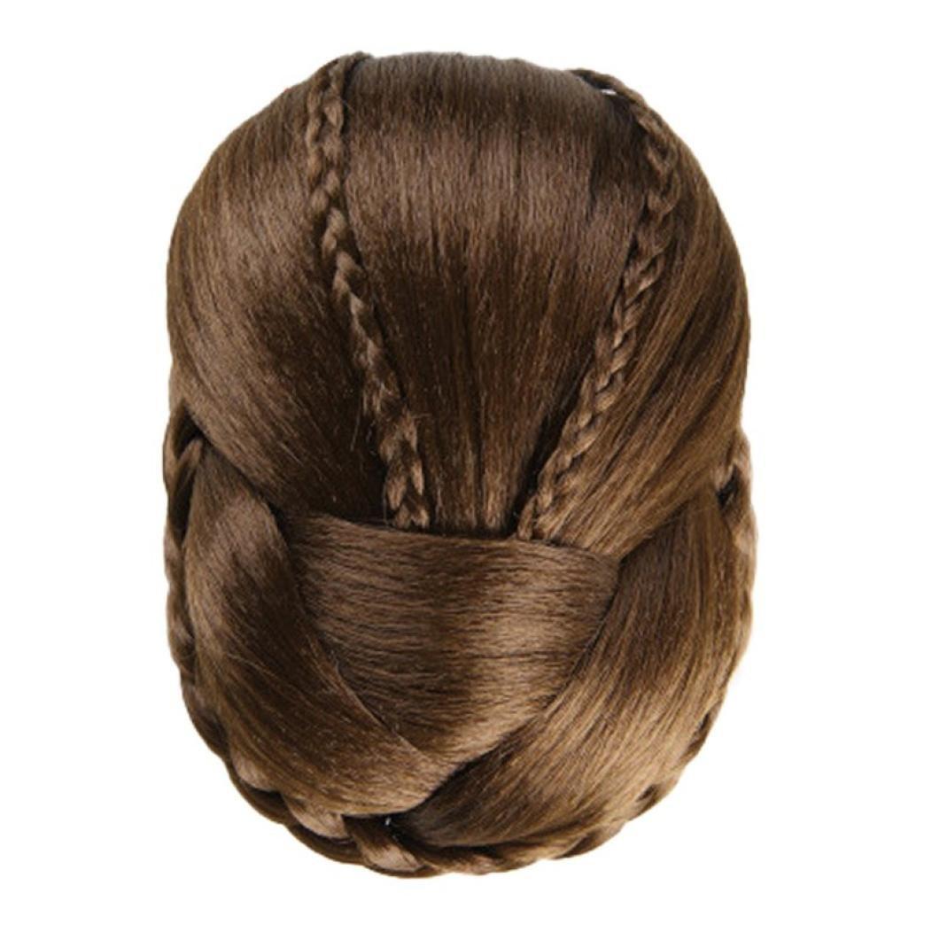 Braided Clip In Twist Braided Hair Bun,Women's Clip On Glamorous Hairpiece Extension for Women Blonde (10X6CM, A)
