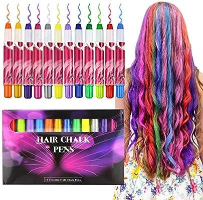 Buluri Pastel de pelo de 12 colores, Tinte para cabello no tóxico, Tinte Temporal para la edad 4 5 6 Plus Girls Boys, regalos perfectos para el cumpleaños ...