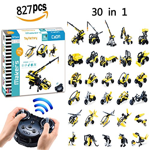 30 in 1 Building Set, 827pcs Blocks Toy Creative and Educational Brick Assembly Toys, 2.4GHz Remote Control Funtions Inspiring Model DIY Toys, Great Gift for Both Girl and Boy by Hosim (Toy Factory)